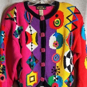 Vintage 90's Colorful Embelished Sweater Beaded